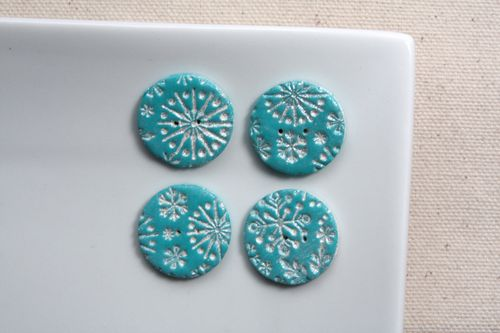 Boutons Flocons (Turquoise)